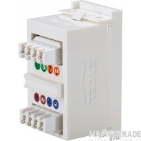 100-300 Excel Category 6 (UTP) Unscreened Euromod RJ45 Module - White