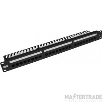 100-490 Excel Plus Category 5e Unscreened Right Angle Patch Panel 24 Port 1U - Black