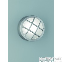 Franklite EXT6620 Exto Flush Light With Satin Glass In Stainless Steel And Cage Style Front