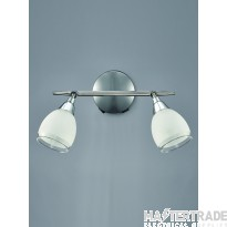 Franklite SPOT8962 Lutina 2 Light Wall Light In Chrome With Clear Edged Satin White Glass Shades