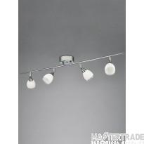 Franklite SPOT8964 Lutina 4 Light Ceiling Bar Spotlight In Chrome, Clear Edged Satin White Glass
