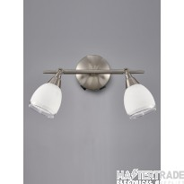 Franklite SPOT8972 Lutina 2 Light Wall Light In Satin Nickel With Clear Edged White Satin Shades