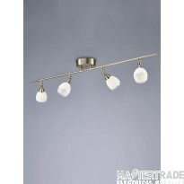 Franklite SPOT8974 Lutina 4 Light Bar Ceiling Light In Satin Nickel With Clear Edged White Shades