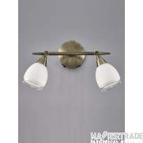 Franklite SPOT8982 Lutina 2 Light Wall Light In Bronze With Clear Edged White Glass Shades