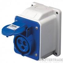 Gewiss GW62404 IP44 Blue Wall Socket Outlet 16A 2P+E 240V
