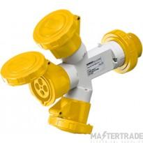 Gewiss IP67 Yellow Triple Socket w/Plug 16A 2P+E 110V GW64022