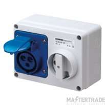 Gewiss GW66004 IP44 Blue Interlocked Switched Socket 16A 2P+E 240V