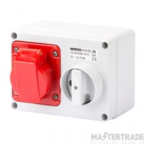 Gewiss GW66008 IP44 Red Interlocked Switched Socket 16A 3P+E 415V