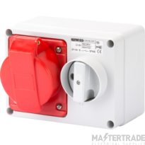 Gewiss GW66019 IP44 Red Interlocked Switched Socket 415V 32A 3P+E