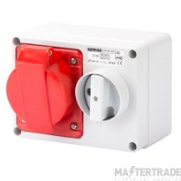 Gewiss GW66020 IP44 Red Switched Interlocked Socket I/L 415V 32A 3P+N