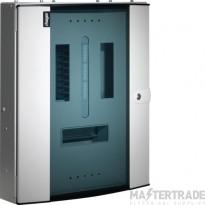 Hager Invicta 3 6 Way TPN Glazed Door Distribution Board 125A JK106BG