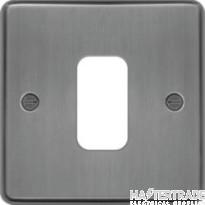 Hager Sollysta Grid 1x1 Frontplate Brushed Steel WRGP1BS