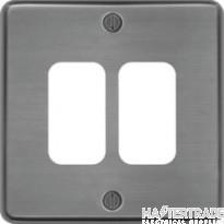 Hager Sollysta Grid 1x2 Frontplate Brushed Steel WRGP2BS