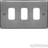 Hager Sollysta Grid 1x3 Frontplate Brushed Steel WRGP3BS