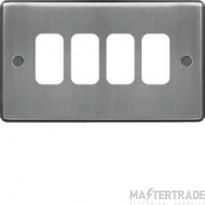 Hager Sollysta Grid 1x4 Frontplate Brushed Steel WRGP4BS