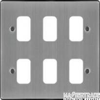 Hager Sollysta Grid 2x3 Frontplate Brushed Steel WRGP6BS