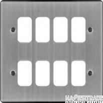 Hager Sollysta Grid 2x4 Frontplate Brushed Steel WRGP8BS
