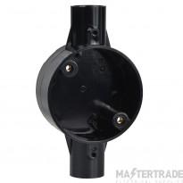 Schneider 2-Way Through Box PVC 20mm Black 20CJB3B
