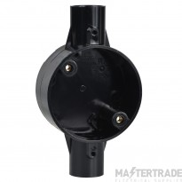 Schneider 2-Way PVC Through Box 25mm Black 25CJB3B