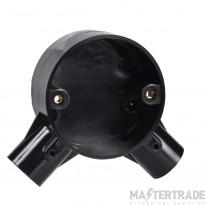 Schneider 2-Way PVC Angle Box 25mm Black 25CJB4B