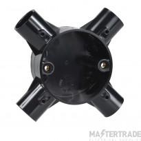 Schneider Mita, 4-way intersection box, for 25mm conduit, black 25CJB6B