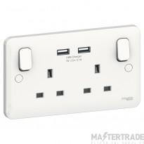 Schneider GGBL30202USBAS White Socket 2Gang 13Amp USB  Lisse