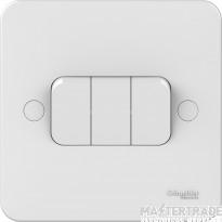 Schneider Lisse 3-Gang 2-Way 10AX Plate Switch White GGBL1032