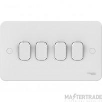 Schneider Lisse 4-Gang 2-Way 10AX Plate Switch White GGBL1042