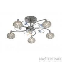 Diyas IL30935 Cara Semi Ceiling 5 Light Satin Nickel/Crystal