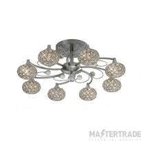 Diyas IL30938 Cara Semi Ceiling 8 Light Satin Nickel/Crystal