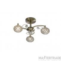 Diyas IL30943 Cara Semi Ceiling 3 Light Antique Brass/Crystal