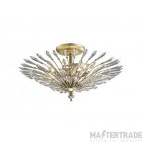 Diyas IL31671 Fay Semi Ceiling 3 Light E14 Aged Gold/Silver/Crystal