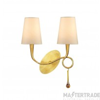 Mantra M0547/S Paola Wall Lamp Switched 2 Light E14, Gold Painted With Cream Shades & Amber Glass Droplets