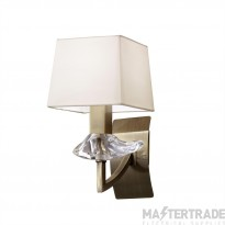 Mantra M0786AB/S Akira Wall Lamp Switched 1 Light E14, Antique Brass With Cream Shade
