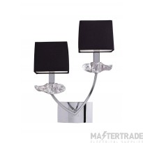 Mantra M0787/S Akira Wall Lamp Switched 2 Light E14, Polished Chrome With Black Shades