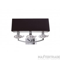 Mantra M0788/S Akira Wall Lamp Switched 3 Light E14, Polished Chrome With Black Shade