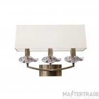 Mantra M0788AB/S Akira Wall Lamp Switched 3 Light E14, Antique Brass With Cream Shade