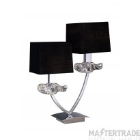 Mantra M0790 Akira Table Lamp 2 Light E14, Polished Chrome With Black Shades