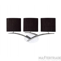 Mantra M1136/S/BS Eve Wall Lamp Switched 3 Light E27, Polished Chrome With Black Oval Shades