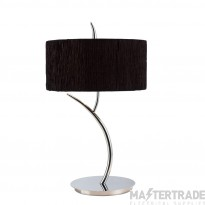 Mantra M1137/BS Eve Table Lamp 2 Light E27 Large, Polished Chrome With Black Round Shade