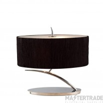 Mantra M1138/BS Eve Table Lamp 2 Light E27 Small, Polished Chrome With Black Oval Shade