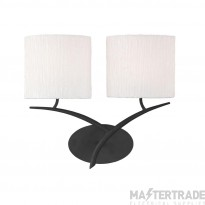 Mantra M1155/S Eve Wall Lamp Switched 2 Light E27, Anthracite With White Oval Shades
