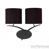 Mantra M1155/S/BS Eve Wall Lamp Switched 2 Light E27, Anthracite With Black Oval Shades