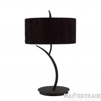 Mantra M1157/BS Eve Table Lamp 2 Light E27 Large, Anthracite With Black Round Shade