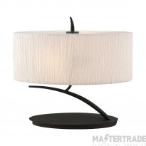 Mantra M1158 Eve Table Lamp 2 Light E27 Small, Anthracite With White Oval Shade