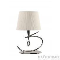 Mantra M1650 Mara Table Lamp 1 Light E14 Large, Polished Chrome With Ivory White Shade