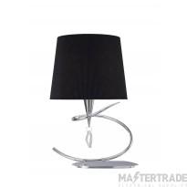 Mantra M1650/BS Mara Table Lamp 1 Light E14 Large, Polished Chrome With Black Shade