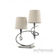 Mantra M1651 Mara Table Lamp 2 Light E14, Polished Chrome With Ivory White Shades