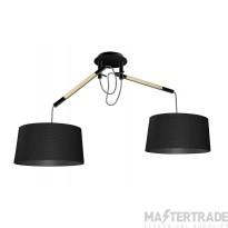Mantra M4931 Nordica Pendant With Black Shade 2 Light E27, Matt Black/Beech With Black Shades