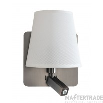 Mantra M5232 Bahia Wall Lamp With Large Back Plate 1 Light E27 + Reading Light 3W LED With White Shade Satin Nickel 4000K, 200lm,, 3yrs Warranty
